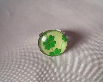 cabochon glass 18mm 4 leaf clover