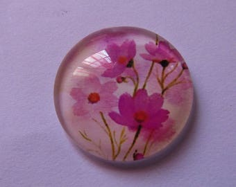 1cabochon glass 20mm flower theme