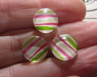 set of 3 glass cabochons striped theme 12mm