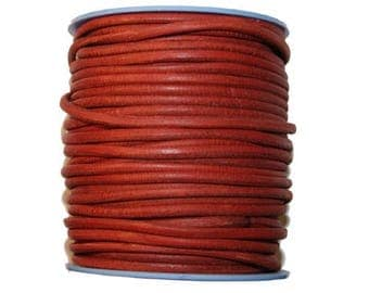 Sold by 20 cm Strip round 3 mm beautiful red leather