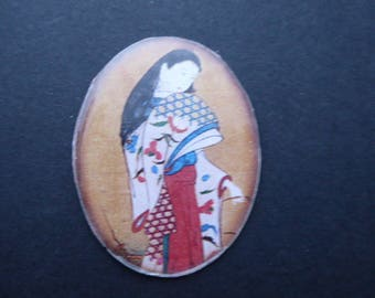 Cabochon Asian theme silicone illustration on white cardstock 3 x 4 cm