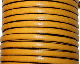 20 cm Leather Strip 5 mm yellow gold