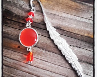 Bookmark feather silver beads and Red Pearl cabochon