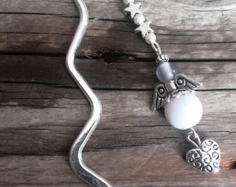 Silver charm bookmark Angel and white beads