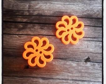 set of 2 buttons fancy wood rose flower, orange