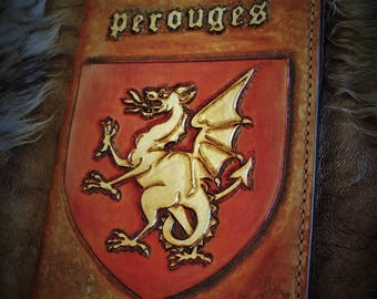 Notebook A5 reading medieval coat of arms of Perouges dragon red and gold embossed leather