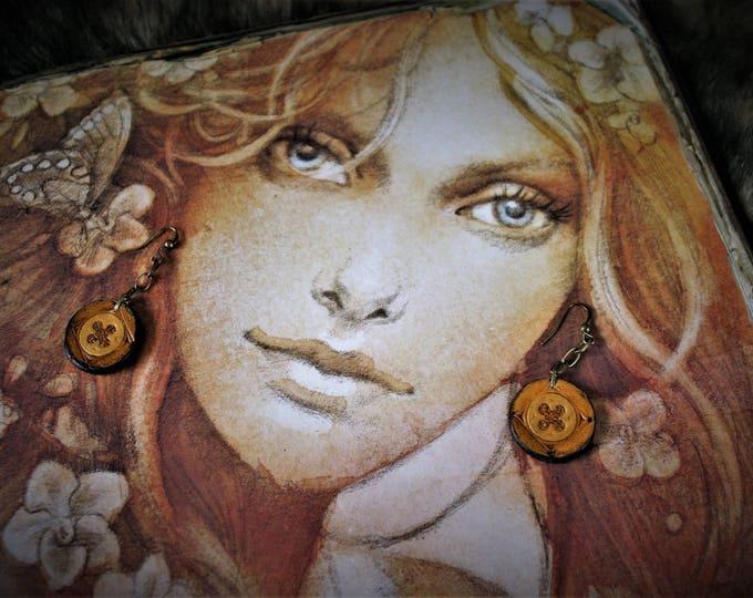 Embossed Leather Pendant Earrings Rosette jewels by Margaery