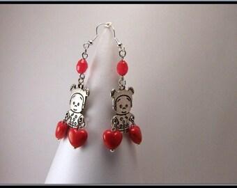 Earrings Pearl Heart, Valentine's day.