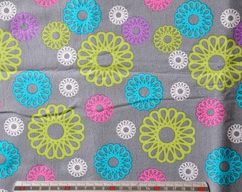 """Flowers """"geometric"""" turquoise, lime, pink cotton fabric"""