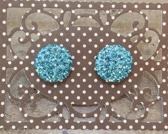 Cabochon turquoise rhinestone Stud Earrings