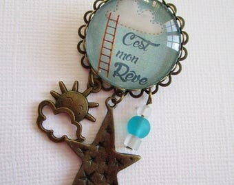 """Brooch """"under the clouds"""", whimsical jewelry, bronze cabochon"""
