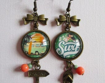 """Surf Sun and Combi"" earrings dangle, bronze"