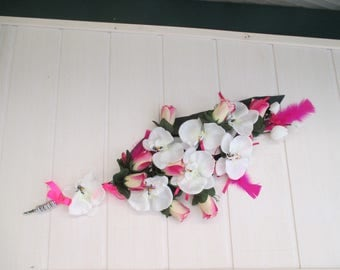 Wall decor, wedding, fuchsia and white