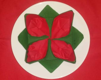 Christmas Lily green and Red napkin folding