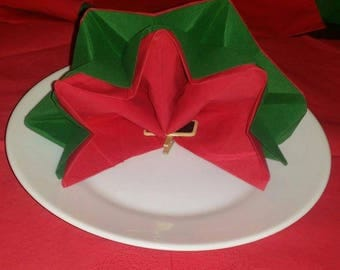 Christmas star shaped napkin folding