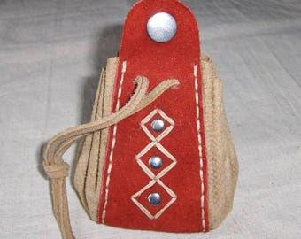 Medieval leather purse red natural fantasy