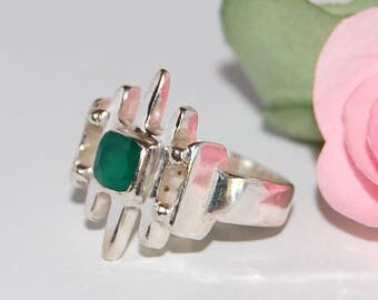 Original green Onyx and Sterling Silver 925 size 50 ring
