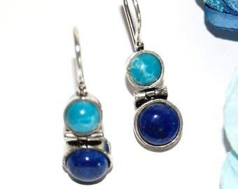 Silver 925 larimar and lapis lazuli earrings