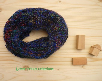 Multicolor Snood (7 1/2 years). Hand made wool ribbed fancy