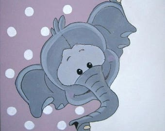 the small elephant canvas 20x20cm acrylic personalized with child's name