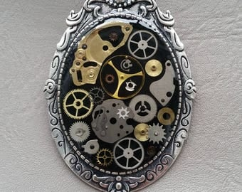 Brooch oval large size vintage style Steampunk watch parts and resin