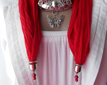 Accessorized with red cotton scarf