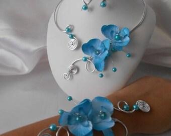 Wedding ANGELIQUE 3 piece necklace, bracelet & earrings set