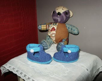 Blue soft wool Baby Slippers