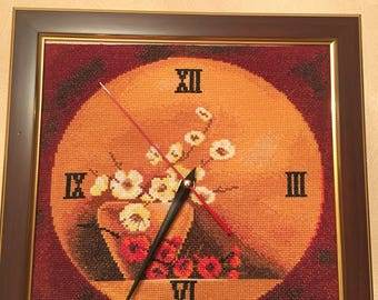 """embroidered picture """"Clock"""" with battery"""