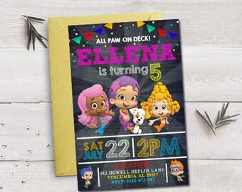 Bubble guppies invitation, bubble guppies birthday, bubble guppies party, bubble guppies printable, bubble guppies invitation for girls