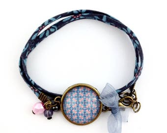 Blue fabric strap - mosaic Cabochon blue and pink