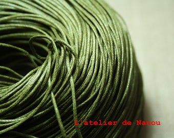 set of 10 m olive green waxed cotton cord 1 mm