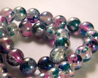 10 pearls iridescent Rainbow - blue translucent glass - 8 mm - PE53