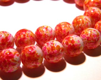 shiny lacquered glass 10 beads - 12 mm - orange and fuchsia F125 3