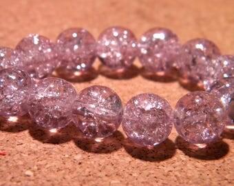 50 10 mm - purple - PF67 Crackle glass beads