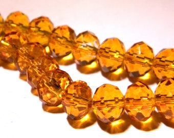 """30 """"Austrian Crystal"""" glass beads faceted - mustard yellow - 8 mm x 6 mm - PG134 - 6"""
