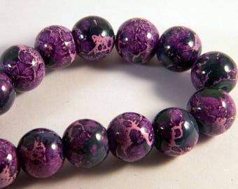 "30 glass beads 12 mm ""reality"" 2 tone purple pink CR4"