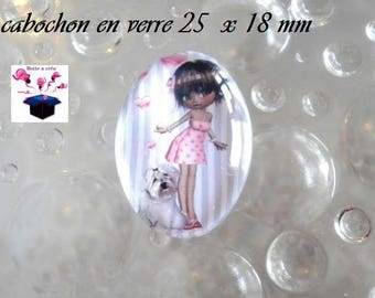 1 cabochon glass 25mm x 18mm love theme