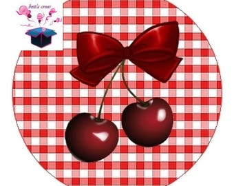 1 cabochon clear 20mm cherry theme