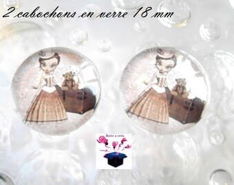 2 theme miss year 1900 18mm domed glass cabochon