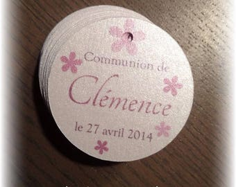 labels round communion flower motifs