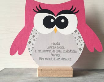 3 menus OWL OWL on solce wood - communion baptism table decoration menu personalized gray and Fuchsia + print