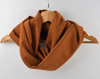 Snood, scarf, neck double twist knitted camel