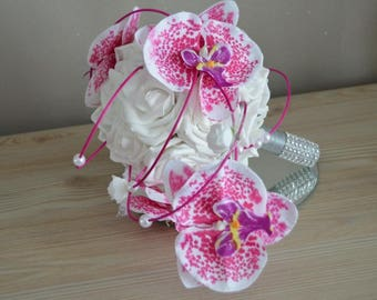Bridal bouquet: pink fuchsia orchids and white