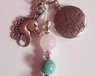 Unicorn and Gemstone Key ring with Rose Quartz and Turquoise