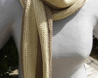 Unisex sand and beige striped silk scarf