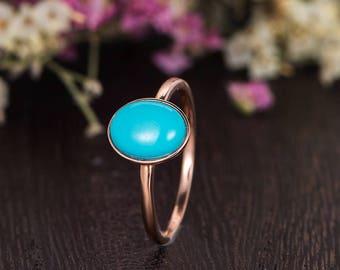 Solitaire Rose Gold Ring Antique Turquoise Engagement Ring Bezel Set Oval Cut Unique Bridal Anniversary Women Retro Plain Band Promise Gift
