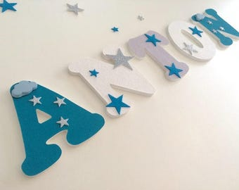 Wooden letters theme sower of stars - personalized wooden name