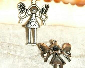 X 2 25MM Tibetan silver lovely fairy pendants
