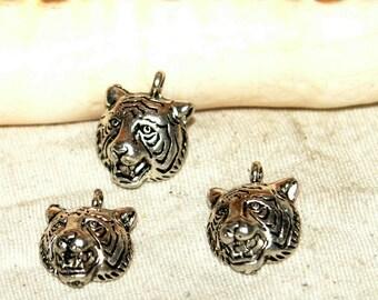 Charms x 15 12 mm silver white metal Tigers head